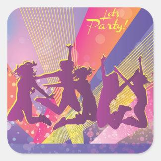 Salto de baile de la gente de FreeVector-Club-Grap Colcomania Cuadrada