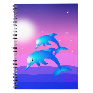 Salto de delfínes libros de apuntes con espiral