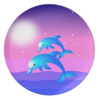 Salto de delfínes plato de cena