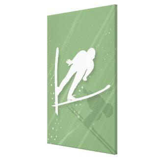 Salto de esquí de dos hombres lona envuelta para galerias