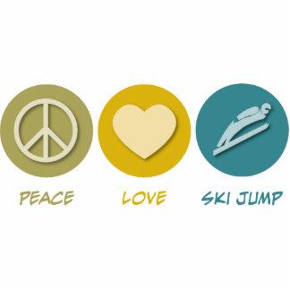 Salto de esquí del amor de la paz escultura fotografica