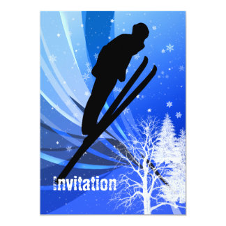 """Salto de esquí en remolinos de la nieve invitación 5"""" x 7"""""""