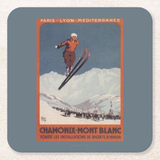Salto de esquí - poster olímpico del promo de PLM Posavasos Desechable Cuadrado