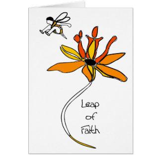 Salto de la abeja de la fe felicitacion