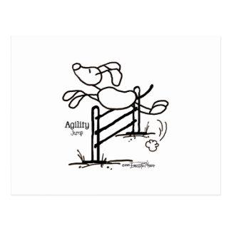 Salto de la agilidad - perro del palillo postales