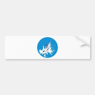 Salto de la aguja azul etiqueta de parachoque