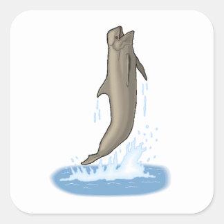 Salto de la ballena experimental calcomanías cuadradass personalizadas