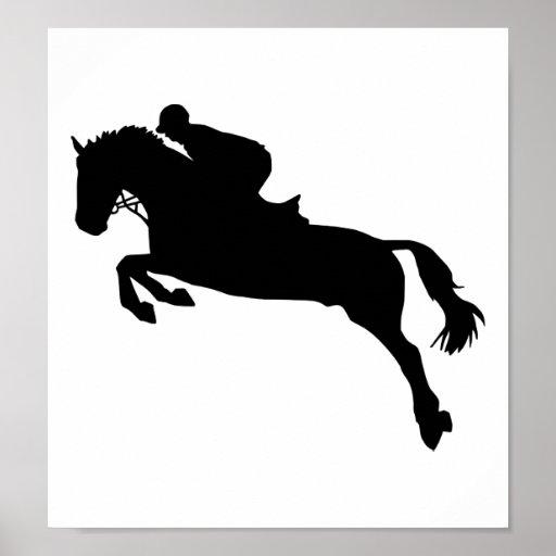 Salto de la demostración del caballo póster