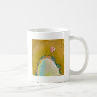 Salto de la fe poca pintura esperanzada del arte taza