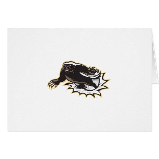 Salto de la mascota del tejón de miel tarjeta de felicitación