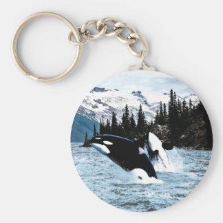 Salto de la orca llavero redondo tipo pin