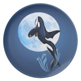 Salto de la placa de la orca y de la luna plato de comida
