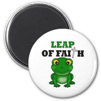 Salto de la rana de la fe imán redondo 5 cm