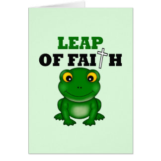 Salto de la rana de la fe felicitacion