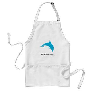 Salto de la silueta azul del delfín delantal