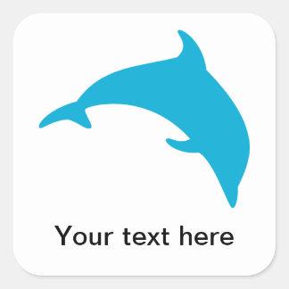 Salto de la silueta azul del delfín calcomanía cuadrada