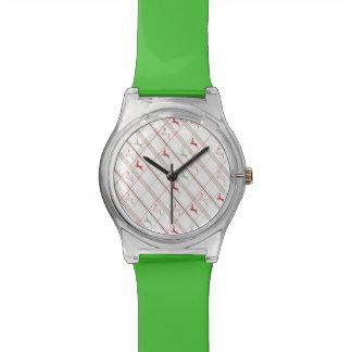 Salto de la tela escocesa del reno relojes de pulsera