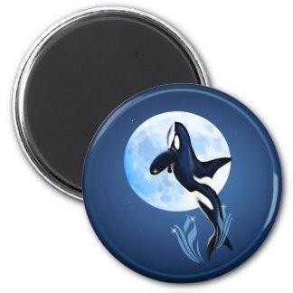 Salto de los botones de la orca y de la Luna Llena Imán Redondo 5 Cm
