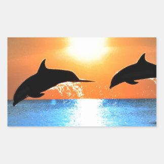 Salto de los delfínes pegatina rectangular