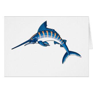 Salto de los peces espadas tarjeta de felicitación