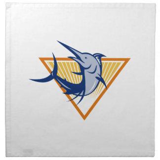 Salto de los pescados de la aguja azul retro servilletas imprimidas