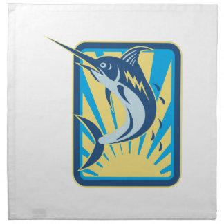 Salto de los pescados de la aguja azul retro servilleta imprimida