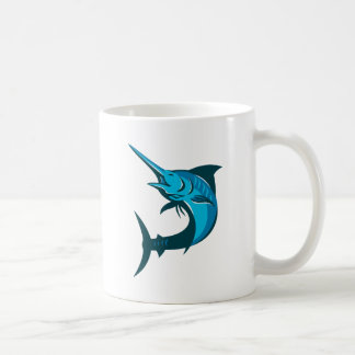 salto de los pescados de la aguja azul retro tazas