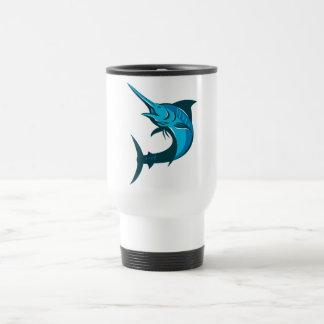 salto de los pescados de la aguja azul retro taza de café