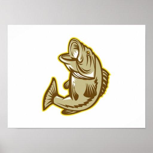 Salto de los pescados de la perca americana retro póster