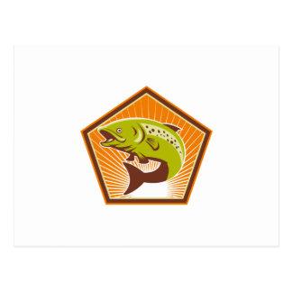 Salto de los pescados de la trucha retro postales