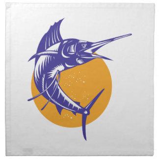 Salto de los pescados del pez volador retro servilleta de papel