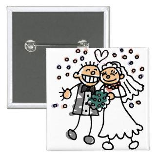 Salto de novia y del novio para la alegría pin cuadrado