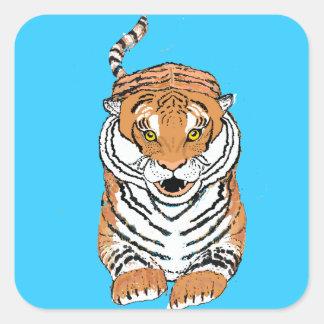 Salto de productos del tigre calcomania cuadradas personalizada