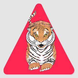 Salto de productos del tigre pegatina triangular