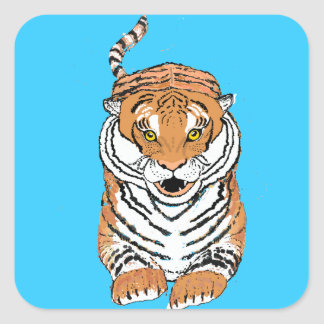 Salto de productos del tigre pegatina cuadrada