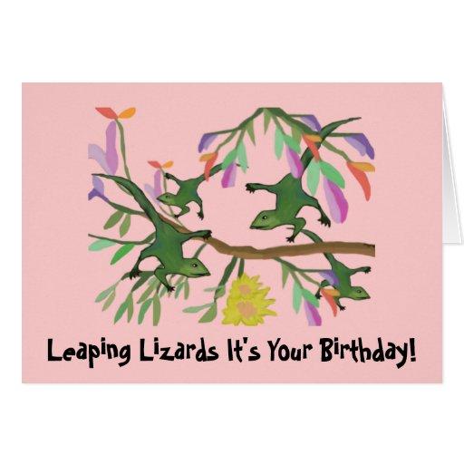 Salto de tarjetas de cumpleaños de los lagartos