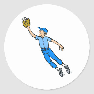 Salto del béisbol para la captura pegatinas redondas
