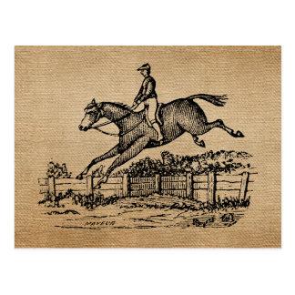 Salto del caballo del vintage de la arpillera postales