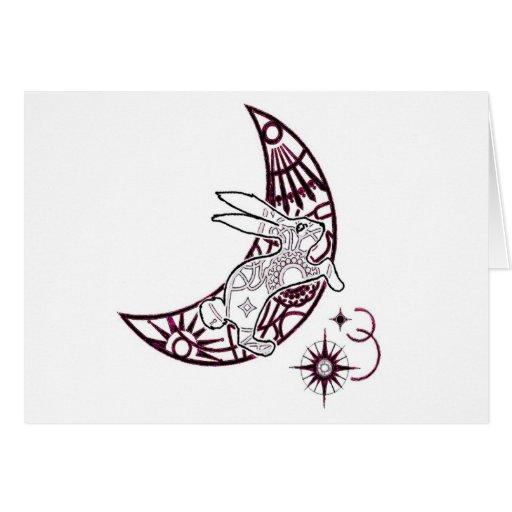 Salto del conejito de la luna tarjetas