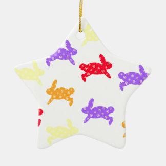 Salto del conejito adorno de cerámica en forma de estrella