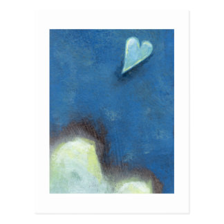 Salto del corazón de la fe tarde en el arte de la  tarjeta postal