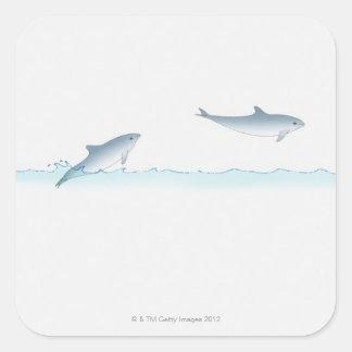 Salto del delfín pegatinas cuadradases