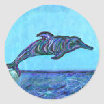 Salto del delfín pegatinas redondas