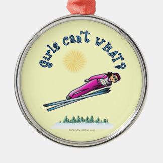 Salto del esquí de las mujeres ligeras ornamentos para reyes magos