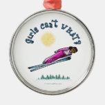 Salto del esquí de las mujeres oscuras ornamento para arbol de navidad
