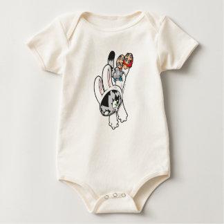 Salto del gatito del conejito body para bebé