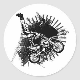Salto del Grunge del motocrós Pegatina Redonda