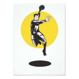 """Salto del jugador del balonmano retro invitación 4.5"""" x 6.25"""""""