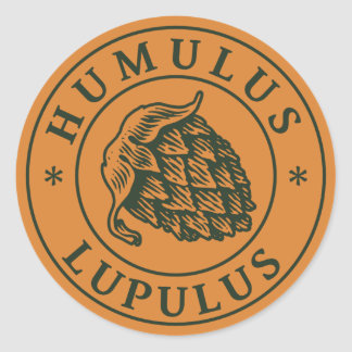Salto del lupulus del Humulus para la cerveza del Pegatina Redonda