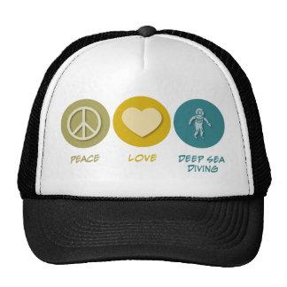 Salto del mar profundo del amor de la paz gorros